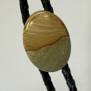 Brown Polished Stone Bolo Tie Lapidary Art Western